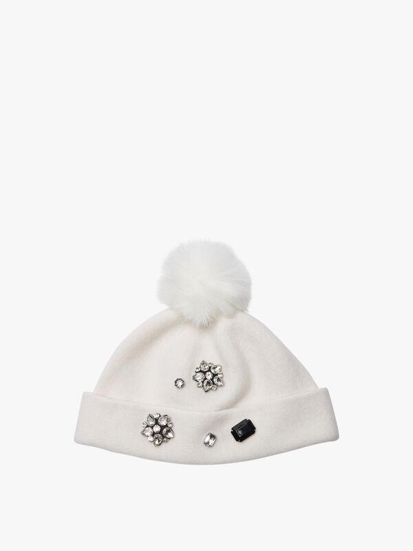 Faux Fur Pom hat with jewels