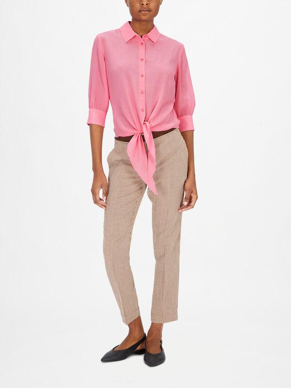 Tilde Cropped Long Sleeve Shirt With Tie Hem