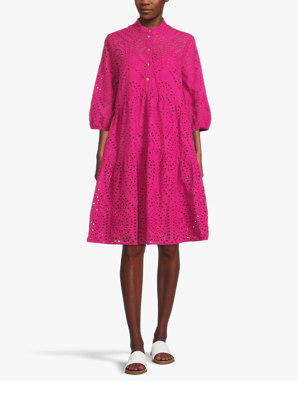 Crop Sleeve Broderie Anglaise Smock Dress with Mandarin Collar