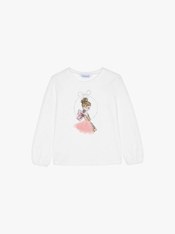 L/s t-shirt Girl w/Tulle Skirt