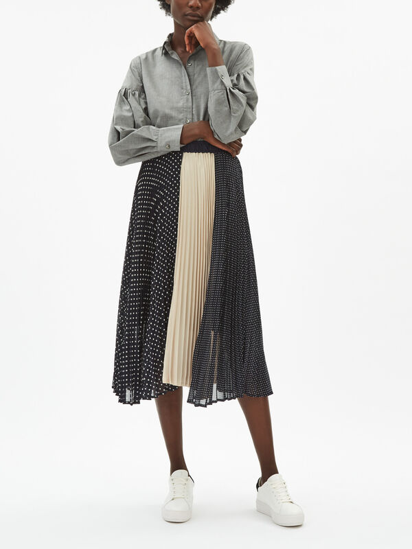 Polka Dot & Gold Pleated Skirt