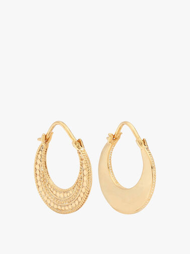 Contrast Dotted Crescent Hoop Earrings Reversible