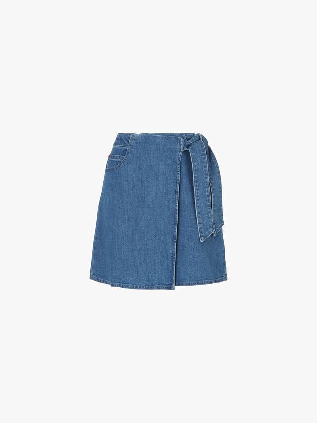 Decalogo Wrap Denim Mini Skirt