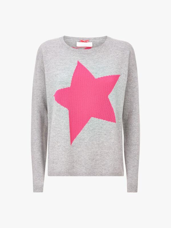 Star Motif Crew Neck Knit