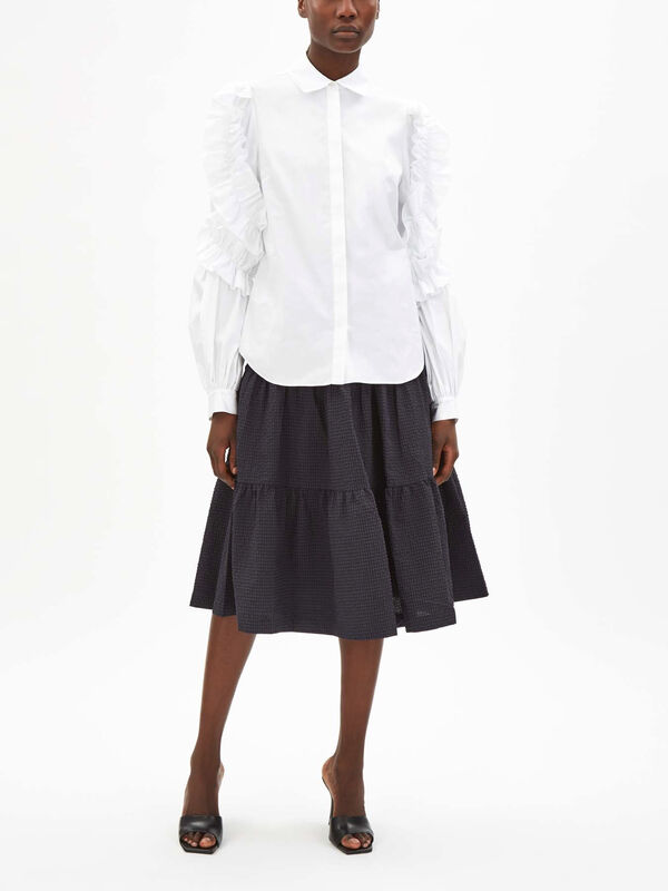 Cotton Gathered Sleeve Shirt