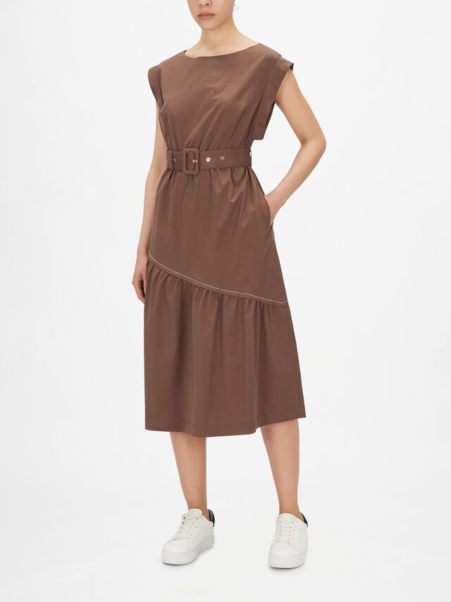 Drop Sleeve Ruffle Hem Cotton Poplin Dress With Belt