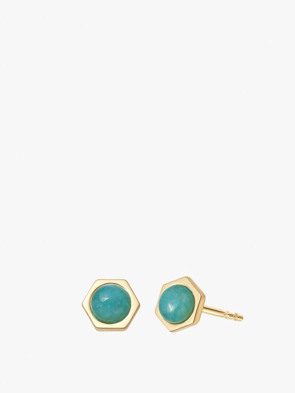 Amazonit Gold Healing Hexagon Stud Earrings