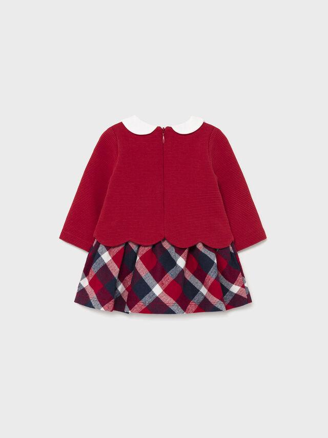 Combined check skirt dress
