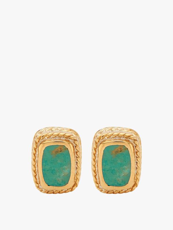 Turquoise Cushion Stud Earrings