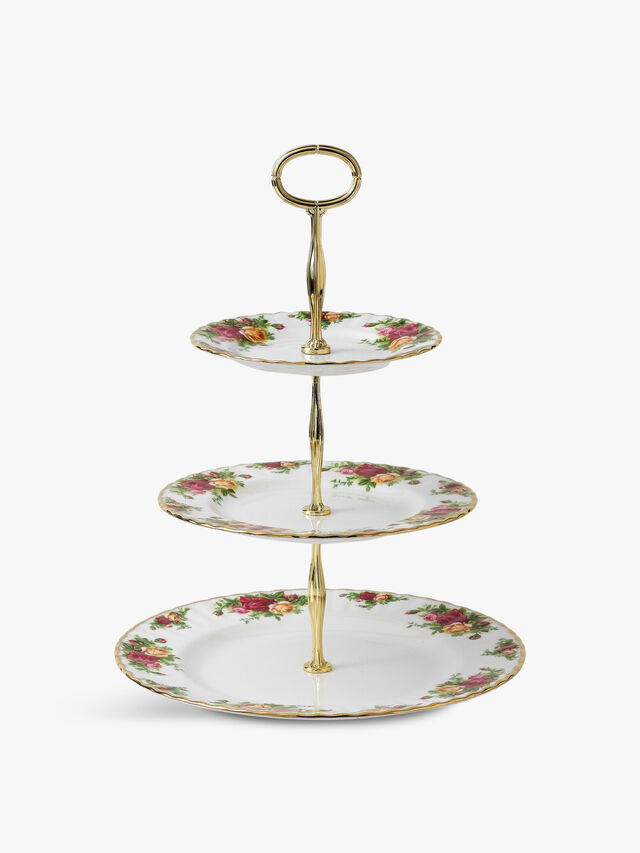 Old Country Roses 3 Tier Cake Stand
