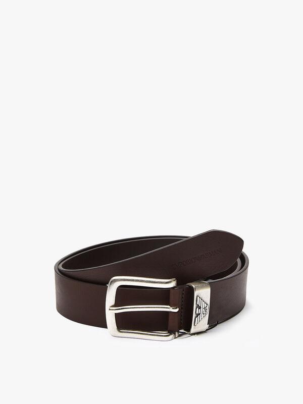 Embossed Logo Leather Belt