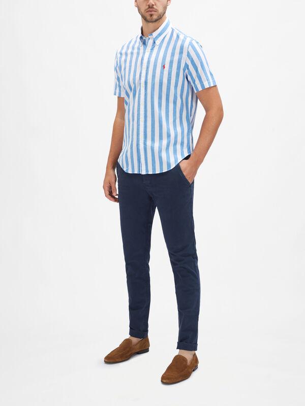 Short Sleeve Striped Custom Fit Shirt