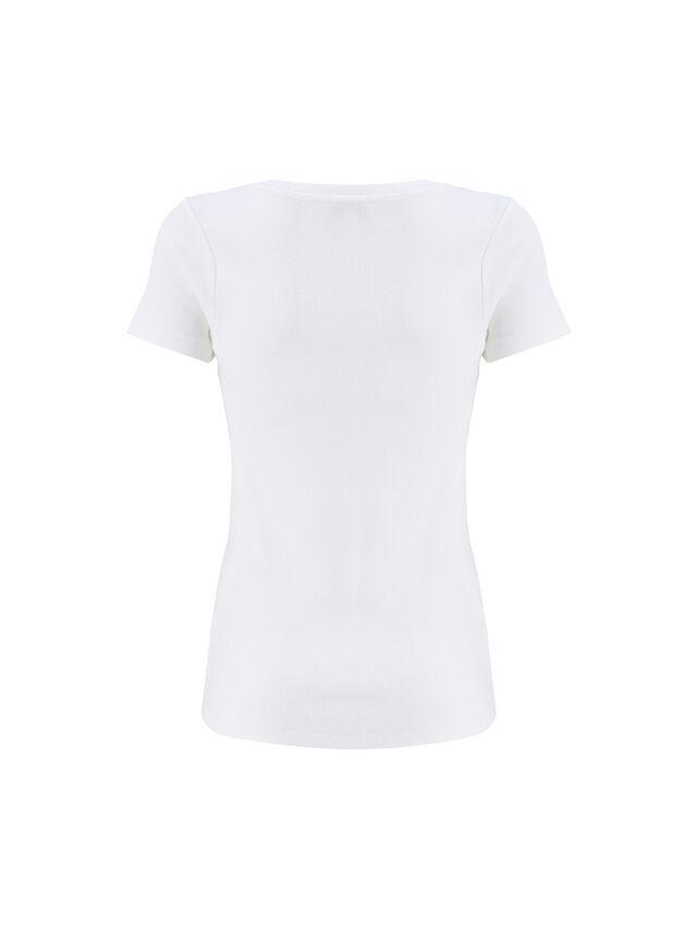 White Scoop Neck Rib T-Shirt