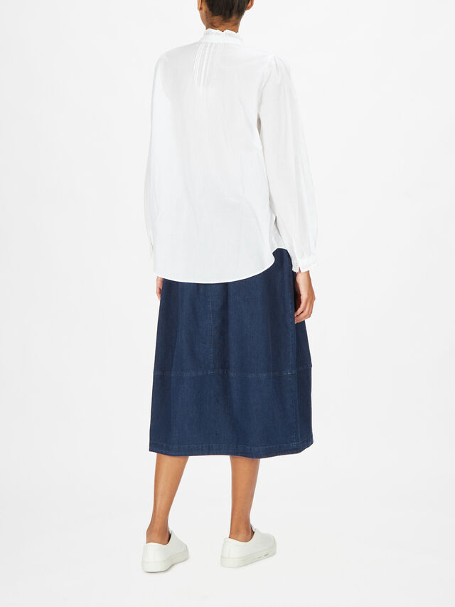 Pleated Front Mandarin Collar Tunic w/Buttons