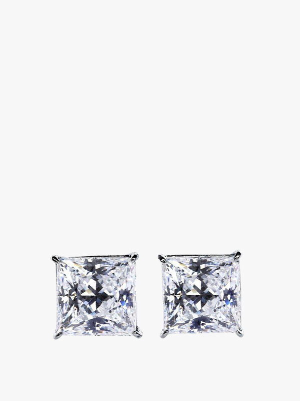 Elegant Princess Cut Stud Earrings