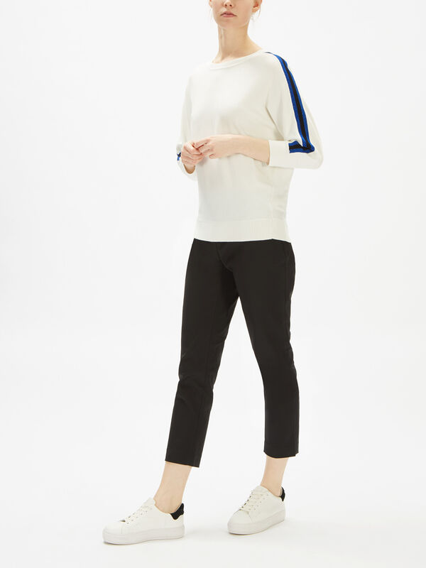 Long Sleeve Pullover with Stripe Sleeve