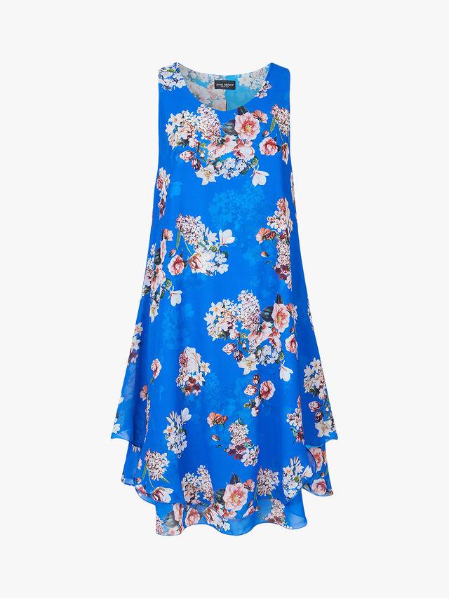Sleeveless Print Wave Hem Dress