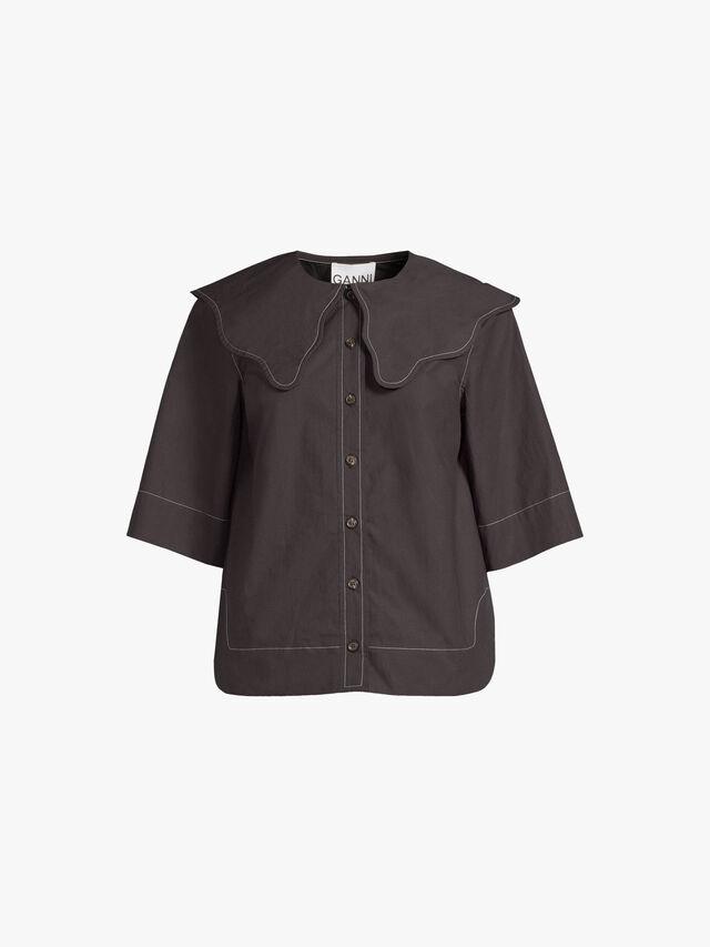 Wide Collared Poplin Shirt