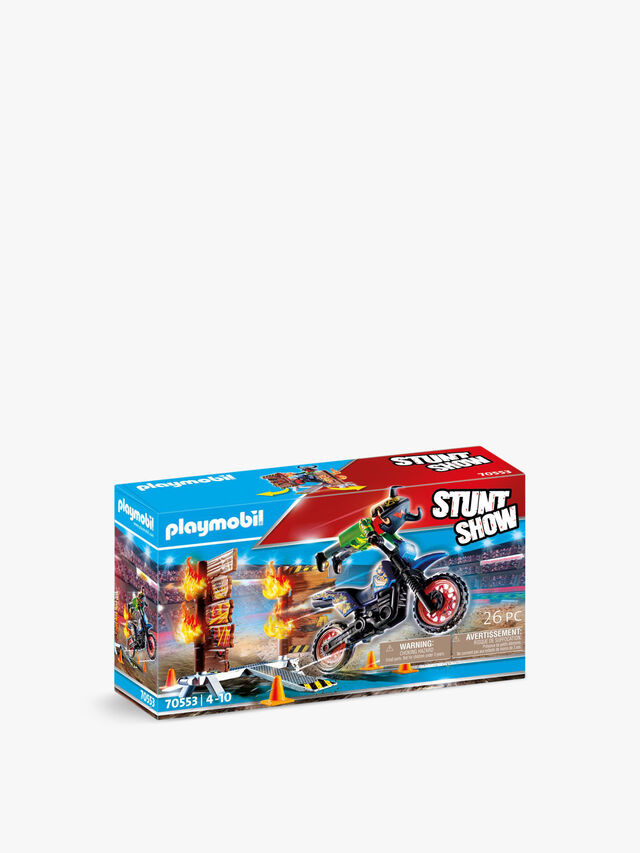 Stunt Show Motocross with Fiery Wall