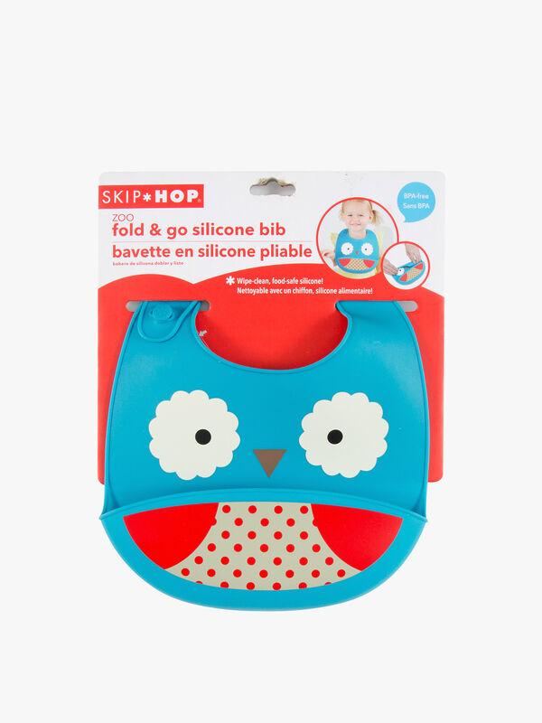 Zoo Fold & Go Silicone Bib Owl