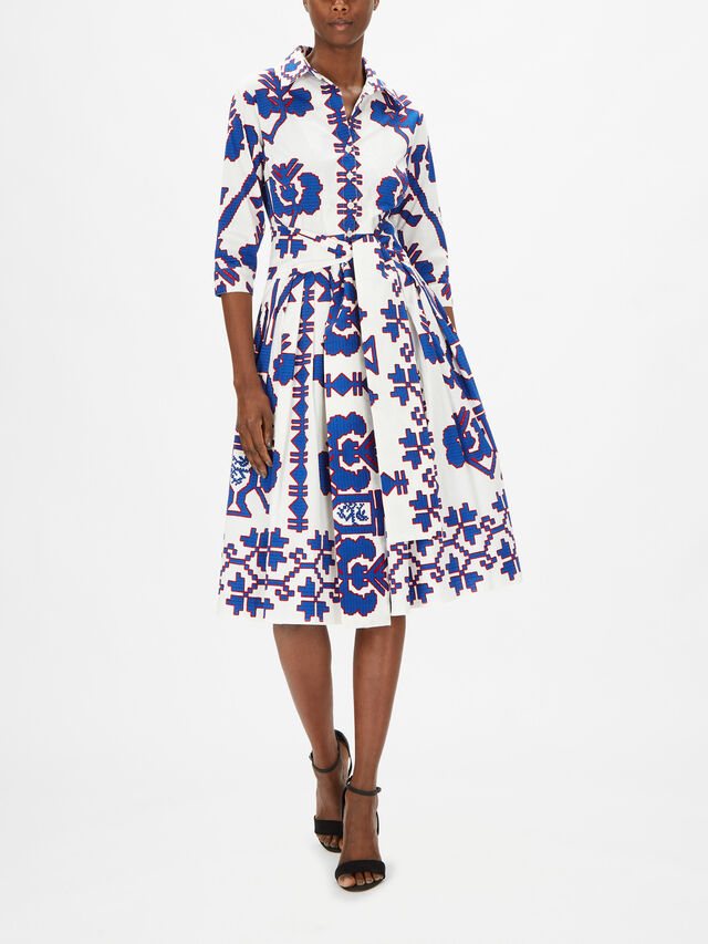 3/4 Sleeve Kos Embroidery Long Dress