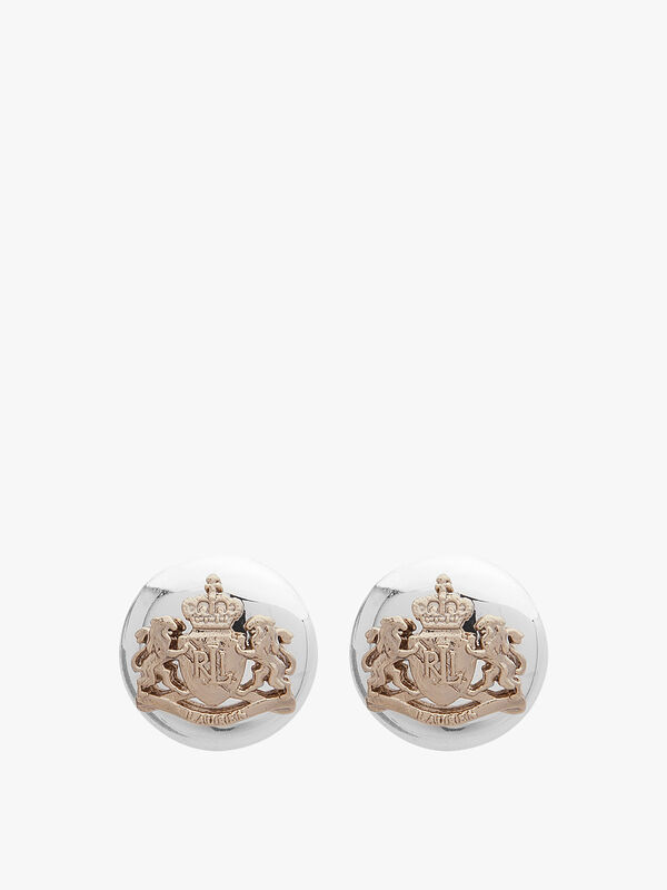 Two Tone Crested Button Earrings