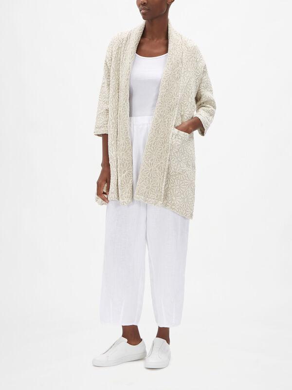 Flower Print Linen Jacket