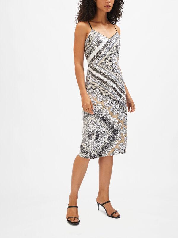 Scarf Print Sequin Slip Dress