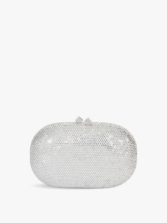 Oval box crystal clutch