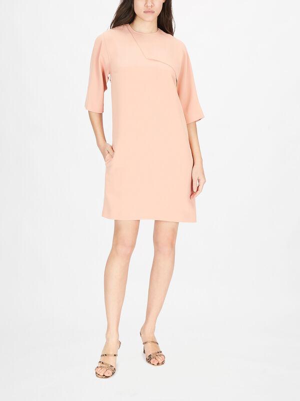 Drape Detail Soft Crepe Shift Dress