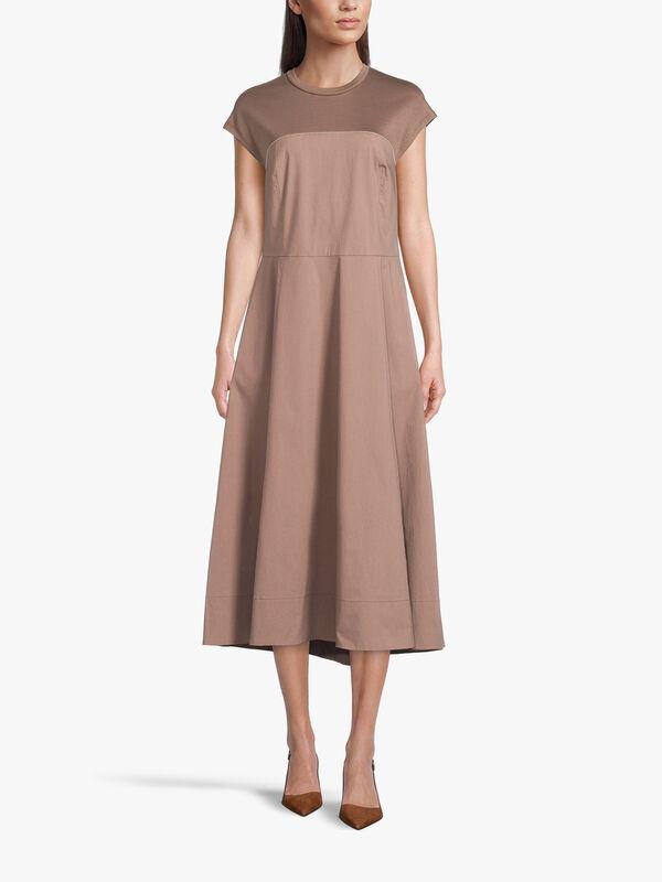 Cap Sleeve A Line Cotton Midi Dress With Embellishment