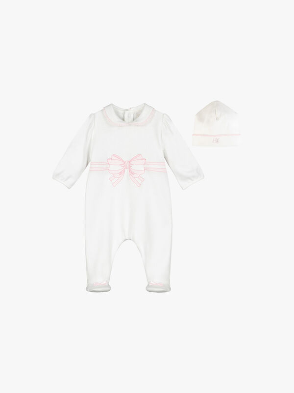 Embroidered Bow Babygrow With Hat