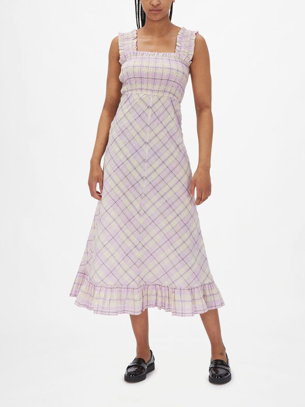Seersucker Check Wide Strap Dress