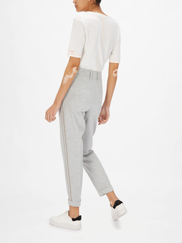 Jersey Marl Pleat Front Taper Trouser