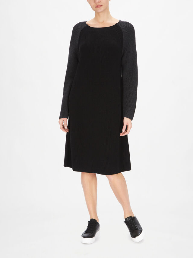 Merino Ribbed Jewel Neck Dress