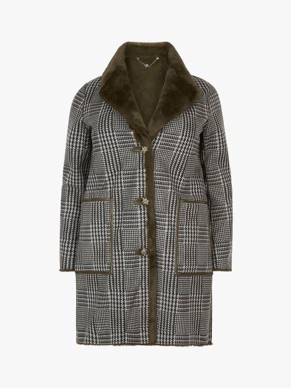 Reversible Check and Faux Fur Coat