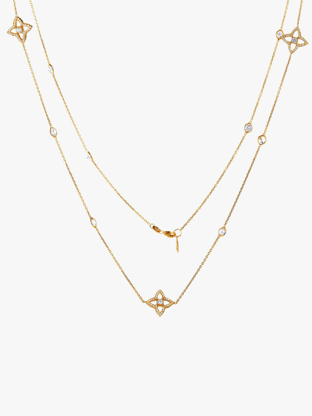 Crystal Lucky Quatrefoil Flower Necklace