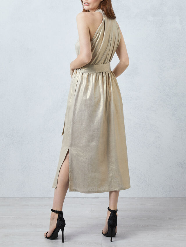Metallic Halter Neck Dress