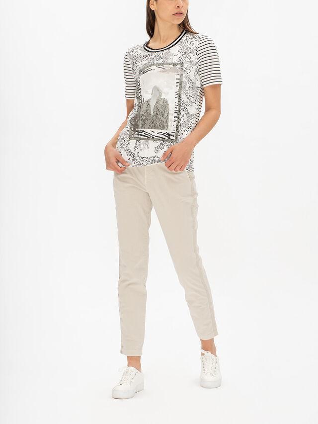 Stripe Sleeve Print Mix Mono T Shirt