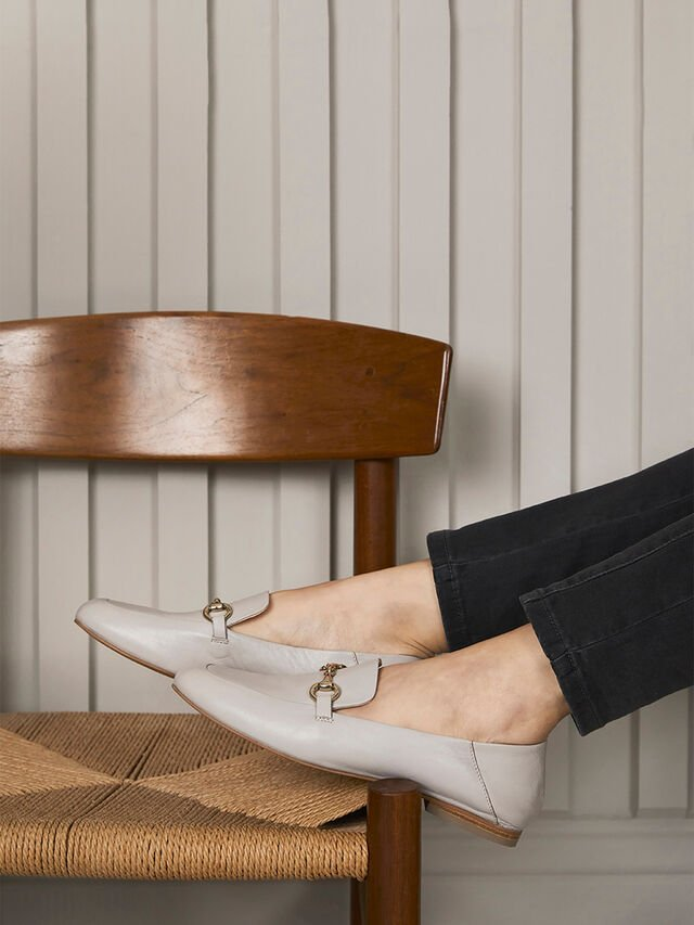 Camille Stone Leather Loafers