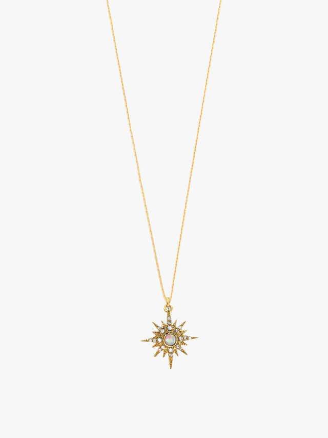 Opal Centre Starburst Necklace