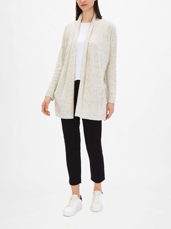 High Collar Organic Cotton Speckle Cardigan