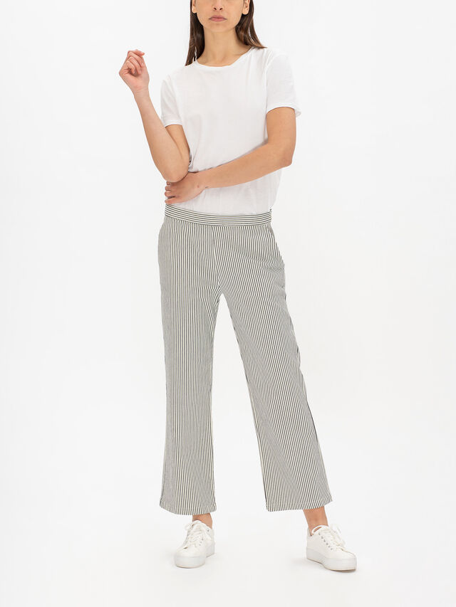 Palasso Fine Stripe Cotton Stretch Pull On Trouser