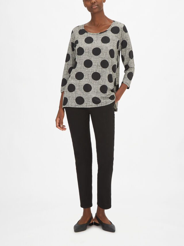 Cilla Round Neck Polka Dot Jersey Top