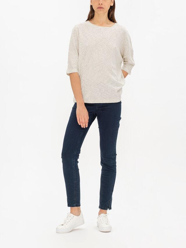 Emel Crop Sleeve Drop Shoulder Striped Jersey Top