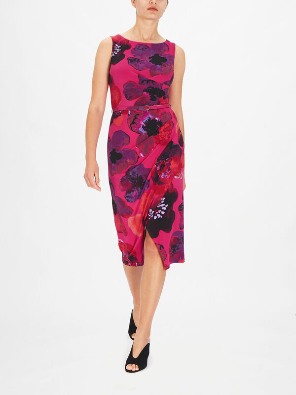 Flower Print Sleeveless Fitted Dress witth Belt