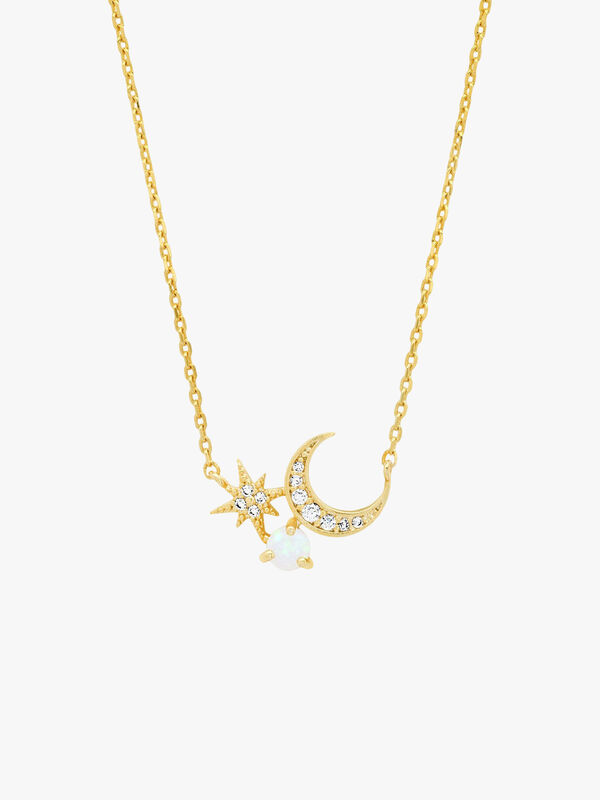 Crescent Moon and Starburst Necklace