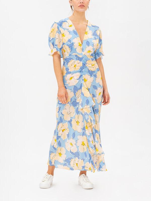 Ariel V-neck Floral Ruched Dress
