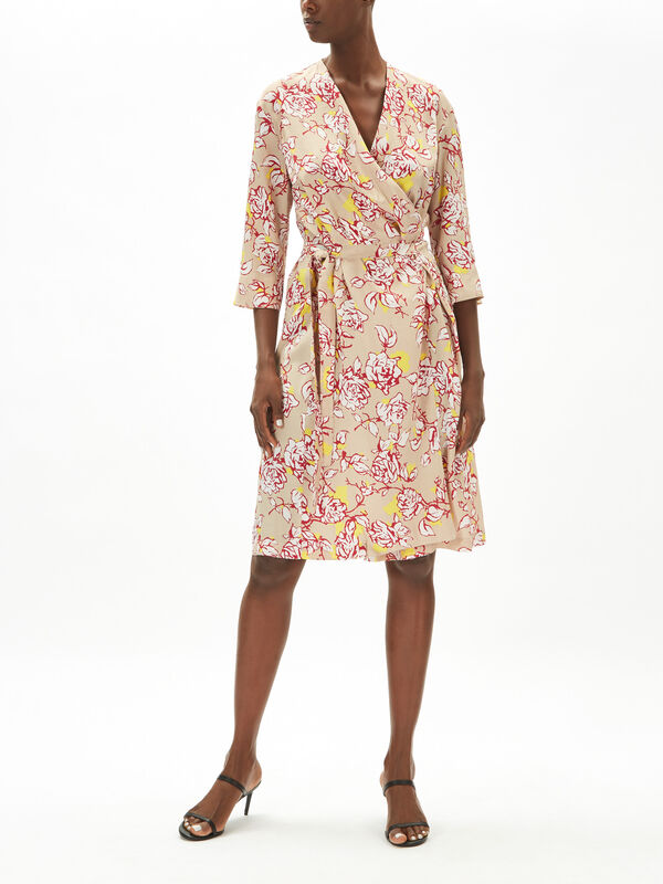 Printed Silk Blend Midi Dress
