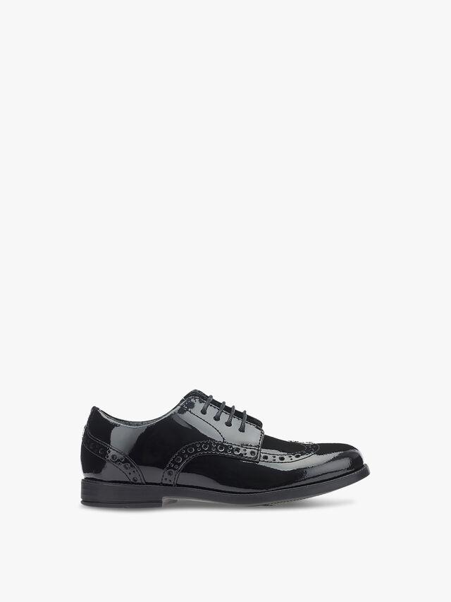 Brogue Snr Black Patent School Shoes